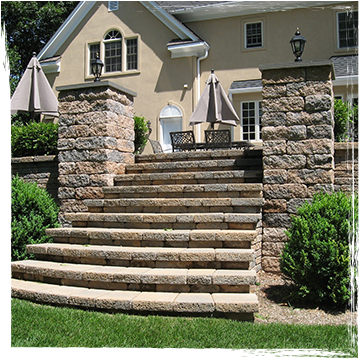 Large stone staircase leading from patio to yard