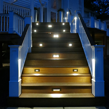 Deck stairs with built-in lighting
