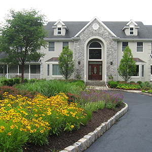 Yellow flowers in a mulched bed lining a paved drive leading to a large grey house
